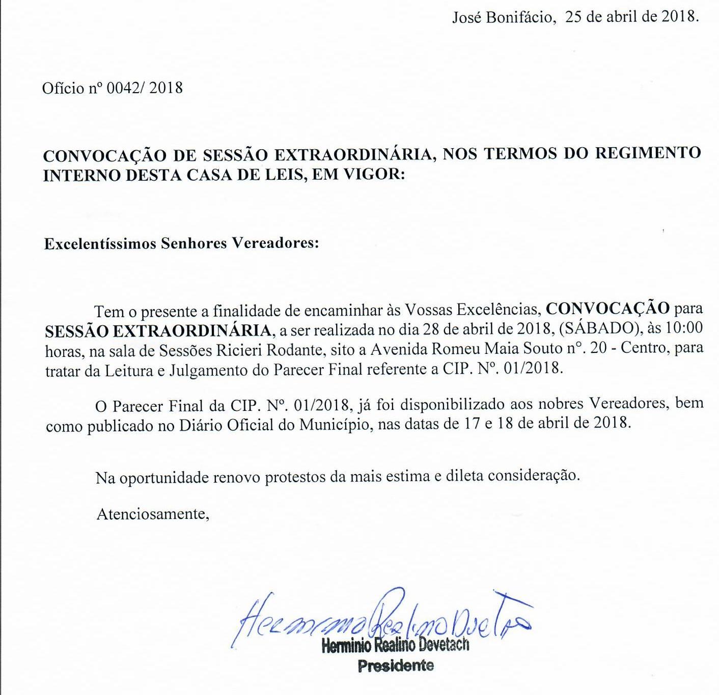 CÂMARA DE JOSÉ BONIFÁCIO REALIZA SESSÃO EXTRAORDINÁRIA DO DIA 28/04/2018 ÀS 10H00: ABERTA AO PÚBLICO