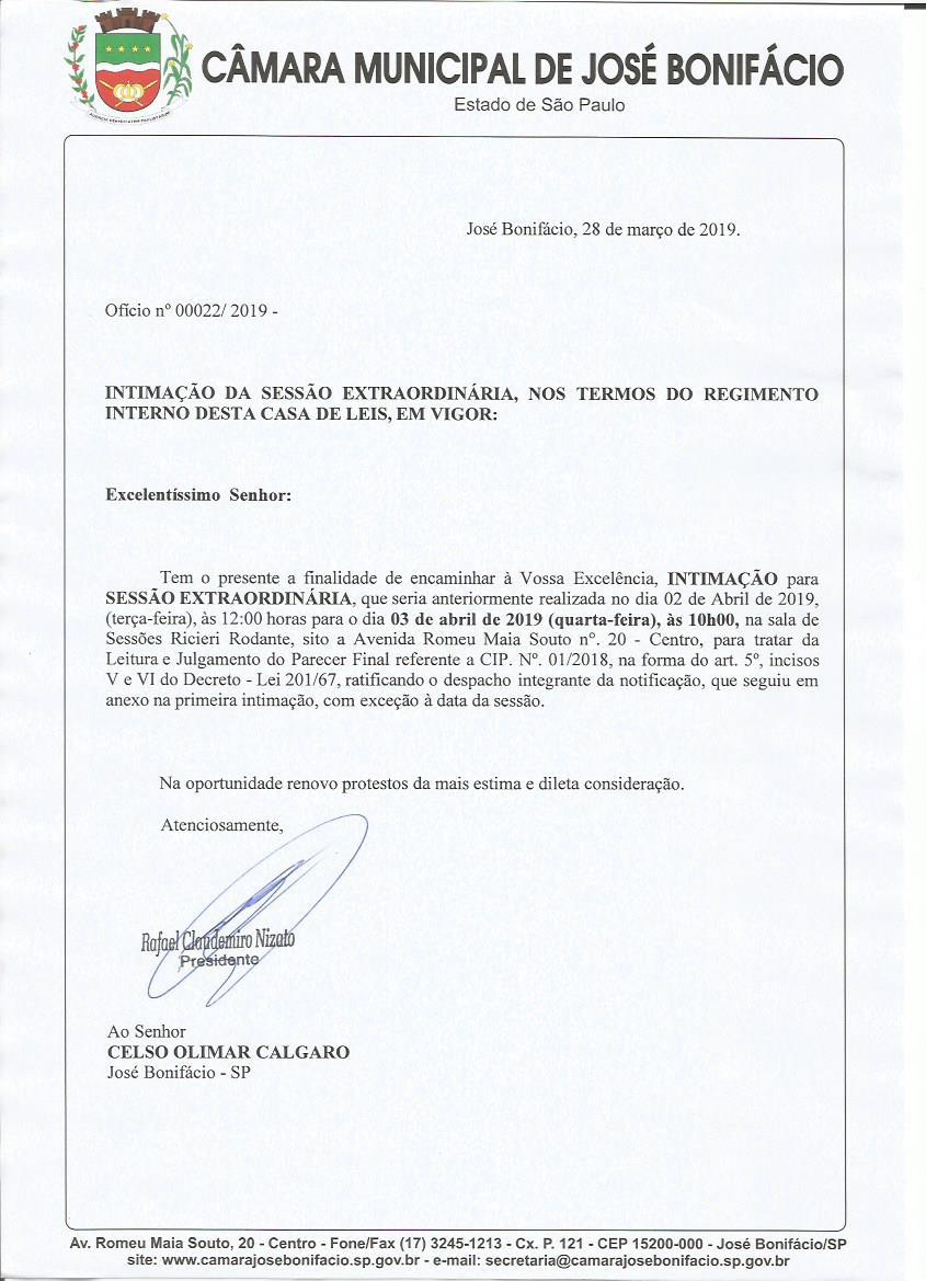 Presidente da Câmara remarca convocação da sessão extraordinária de 02/04/2019 às 12h00 para 03/04/2019 as 10h00 para julgamento de Celso Gaúcho