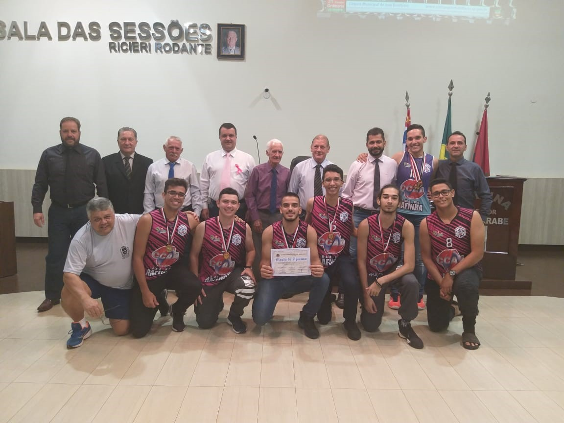 Equipe de Vôlei de José Bonifácio recebe Moção de Aplauso dos vereadores