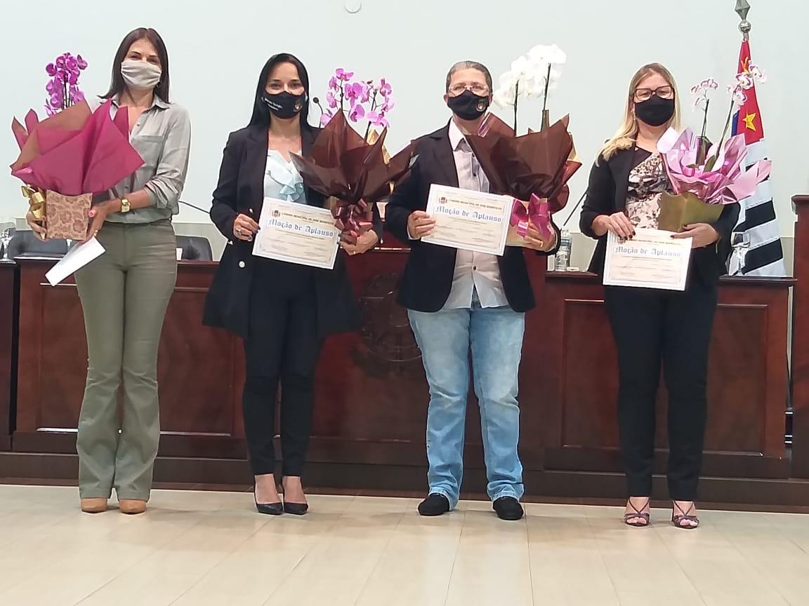 Vereadoras Ceila Sanches, Daniele Sotello, Márcia Caruso e Fabiana Pinheiro são homenageadas pelo Dia Internacional da Mulher
