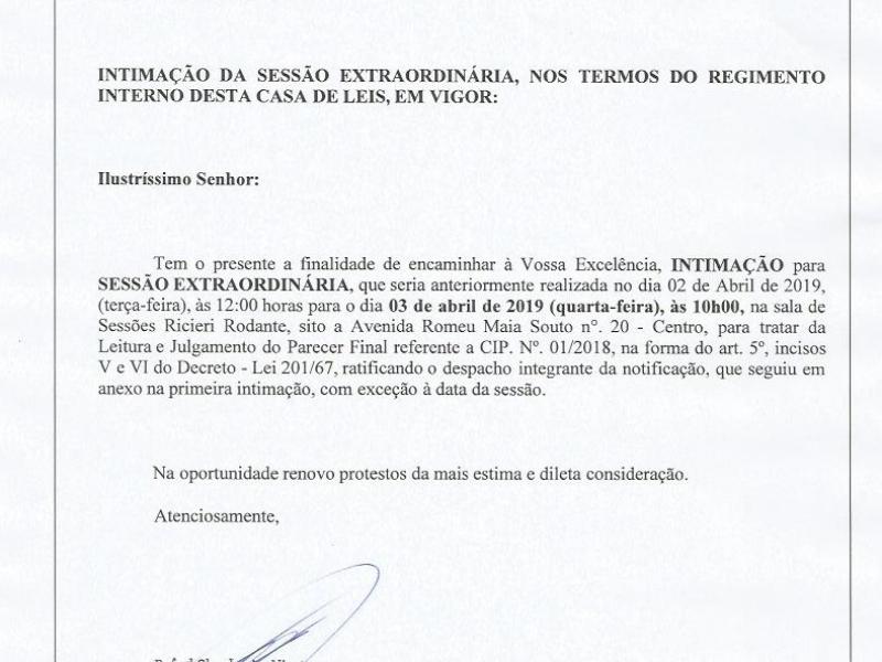Presidente da Câmara  remarca sessão para 03/04/2019 às 10h00 intimando o advogado Silvio Eduardo Macedo Martins