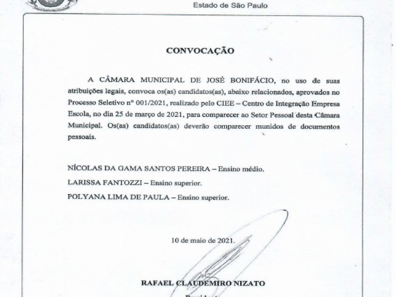 Câmara convoca classificados no Processo Seletivo 01/2021